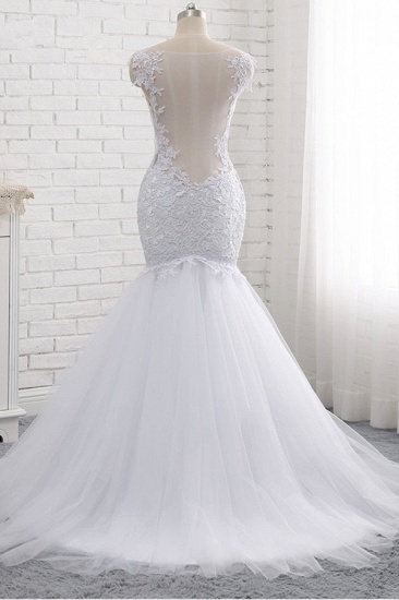 BMbridal Mordern Straps V-Neck Tulle Lace Wedding Dress Sleeveless Appliques Beadings Bridal Gowns Online_3