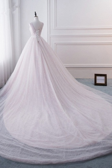 Affordable V-Neck Sleeveless Wedding Dress Lace Appliques Bedaings Long Bridal Gowns On Sale_5