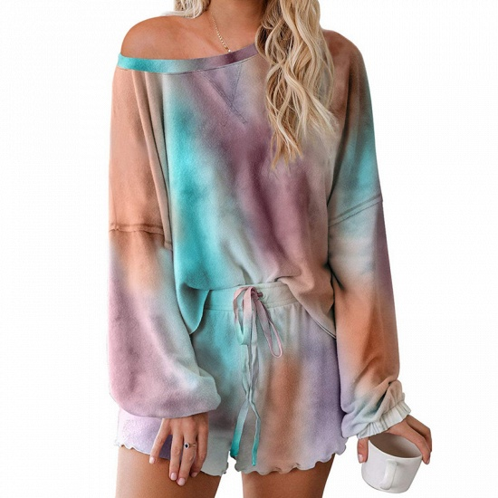 BMbridal Long sleeve One shoulder Tie-dye Loungewear Pink Two-pieces Pajamas_2