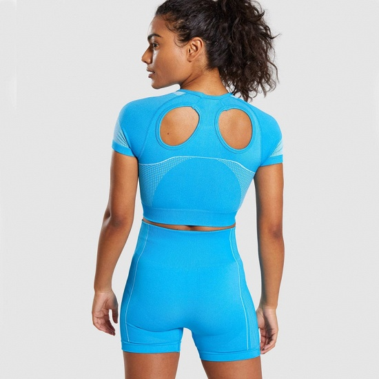 Sexy Women 2PCS Yoga Set Female Short Sleeves Top Fitness Shorts Running Gym Sports Clothes Suit_10