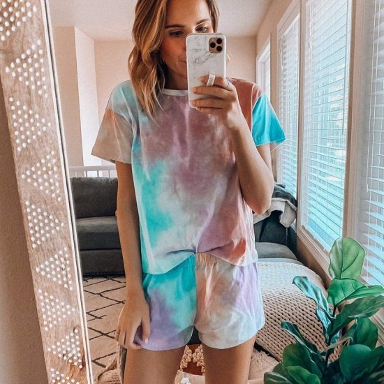Women's Tie-dye short-sleeved Pajamas Summer fashion Printed Two-piece Housewear