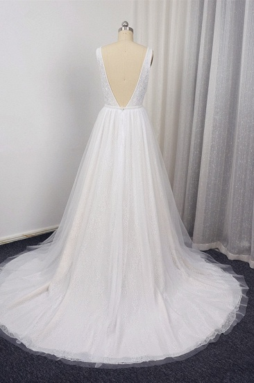 BMbridal Chic Straps V-Neck White Tulle Lace Wedding Dress Sleeveless Ruffles Bridal Gowns On Sale_3
