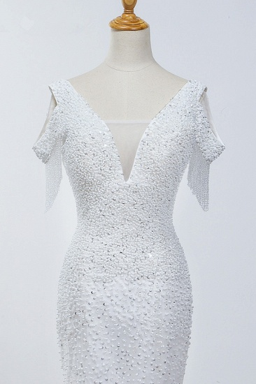 Sparkly Sequined V-Neck Cold-Shoulder White Wedding Dress White Mermaid Lace Appliques Bridal Gowns On Sale_5