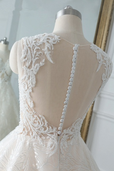 Elegant Jewel White Tulle Lace Wedding Dress Sleeveless Appliques A-Line Bridal Gowns Online_7