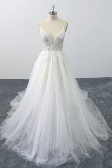 Sexy Spaghetti Straps Tulle Lace Wedding Dress V-Neck Ruffles Appliques Bridal Gowns Online_1
