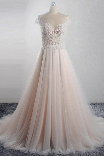 Elegant Jewel Tulle Lace Wedding Dress Short Sleeves Appliques Ruffles Bridal Gowns On Sale_1