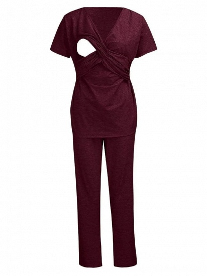 BMbridal Soft Short Sleeve Solid Color Maternity Breastfeeding Suit_5