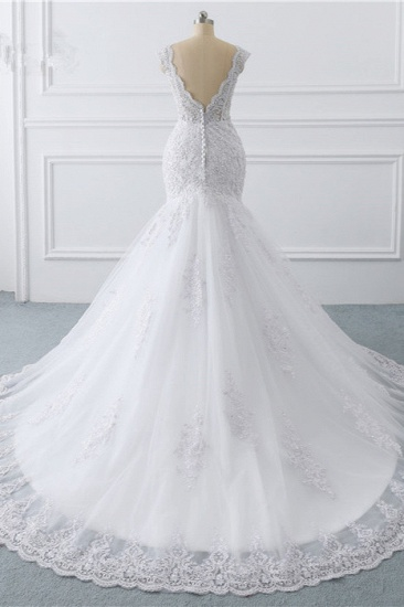 BMbridal Gorgeous V-Neck Tulle Lace Wedding Dress Sleeveless Mermaid Appliques Bridal Gowns On Sale_3