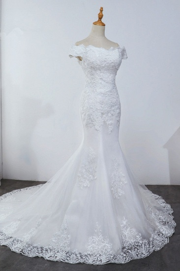 Affordable Off-the-Shoulder Mermaid White Wedding Dress Short Sleeves Tulle Appliques Bridal Gowns On Sale_4