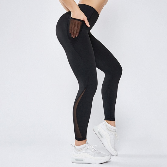 Patchwork Women Yoga Pants With Pocket High Waist Sports Gym Wear Leggings Fitness Girls Running Exercise Outfits_2