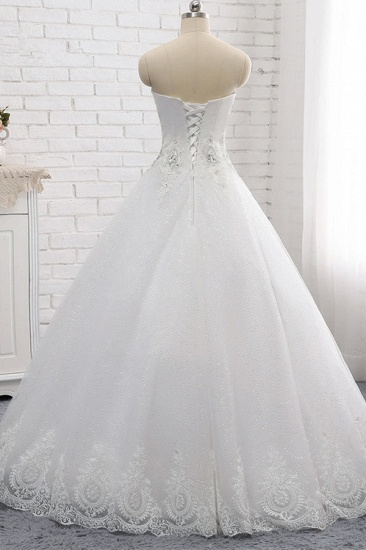 Affordable S-Line Sweetheart Tulle Rhinestones Wedding Dress Lace Appliques Sleeveless Bridal Gowns Online_2