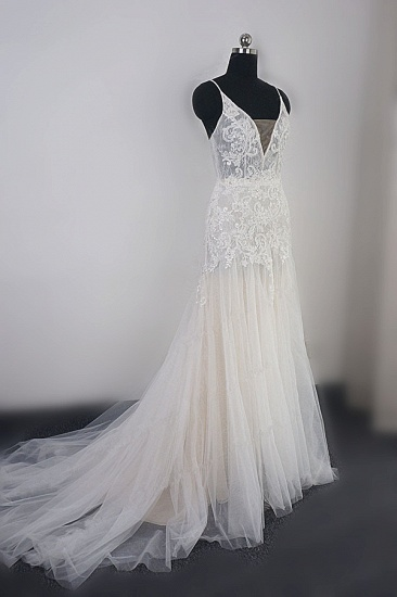 Sexy Deep-V-Neck Tulle Mermaid Wedding Dress Lace Appliques Spaghetti Straps Beadings Bridal Gowns Online_4