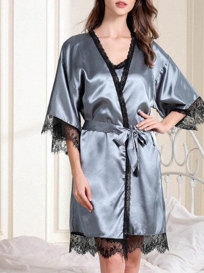 BMbridal Fashion Women Simulation Silk Pajamas with Lace Edges_1