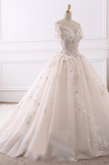 Ball Gown V-Neck Tulle Beadings Wedding Dress Lace Appliques Short Sleeves Bridal Gowns with Flowers On Sale_4