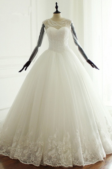 Stylish Jewel Long Sleeves Tulle Wedding Dress Pearls Lace Appliques Bridal Gown with Crystals On Sale
