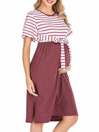 Fashion Women's Striped Round-Neck Maternity Dress with Short-sleeves_7