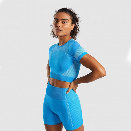 Sexy Women 2PCS Yoga Set Female Short Sleeves Top Fitness Shorts Running Gym Sports Clothes Suit_11
