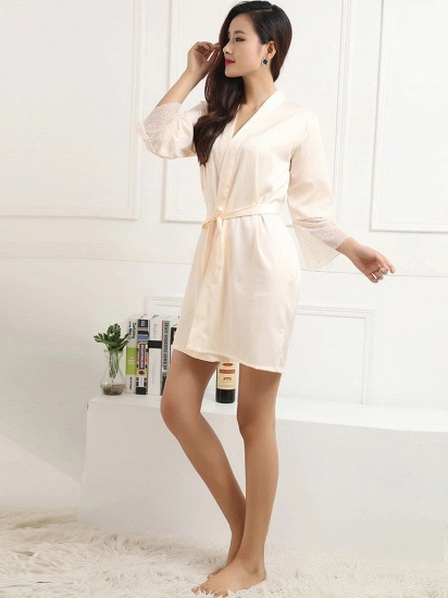 Women Long Lace Sleeves Silk Pajamas with Bow Sash On Sale_4