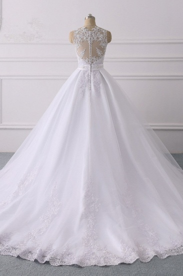 Gorgeous V-Neck Satin Tulle Lace Wedding Dress White Appliques Sleeveless Bridal Gowns On Sale_3