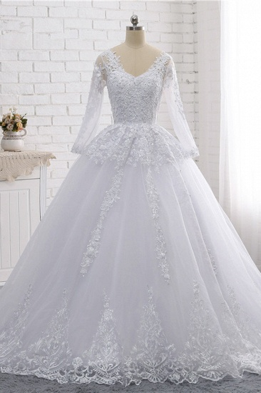 Stylish Long Sleeves Tulle Lace Wedding Dress Ball Gown V-Neck Sequins Appliques Bridal Gowns On Sale_1