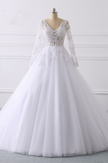 BMbridal Elegant V-Neck Long Sleeves Wedding Dress White Tulle Lace Appliques Bridal Gowns On Sale_1