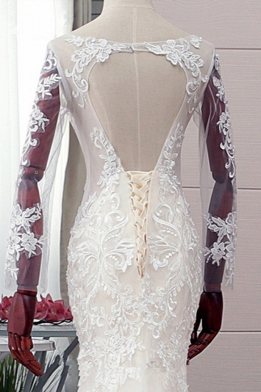 BMbridal Elegant Jewel Tulle Lace Mermaid Wedding Dress Long Sleeves Appliques Bridal Gowns with Beadings On Sale_6