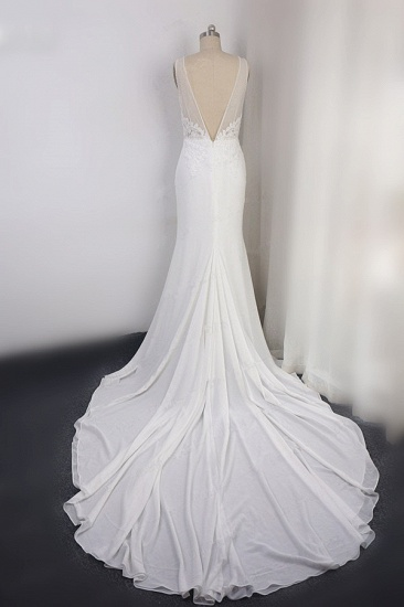 BMbridal Sexy Deep-V-Neck Chiffon Sheath Wedding Dress Lace Appliques Sleeveless Pearls Bridal Gowns Online_3