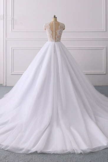 BMbridal Modern Ball Gown Jewel Tulle Ruffles Lace Wedding Dress Appliques Short-Sleeves Bridal Gowns On Sale_3