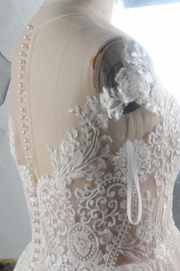 Elegant Jewel Tulle Lace Wedding Dress Short Sleeves Appliques Ruffles Bridal Gowns On Sale_5