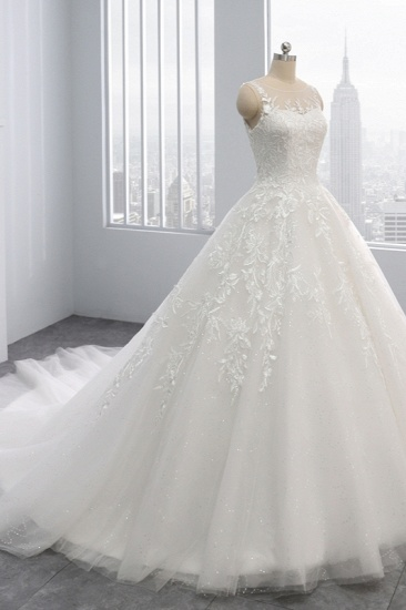 BMbridal Affordable Ball Gown Jewel Tulle Lace Wedding Dress Ruffles Sleeveless Appliques Bridal Gowns Online_4