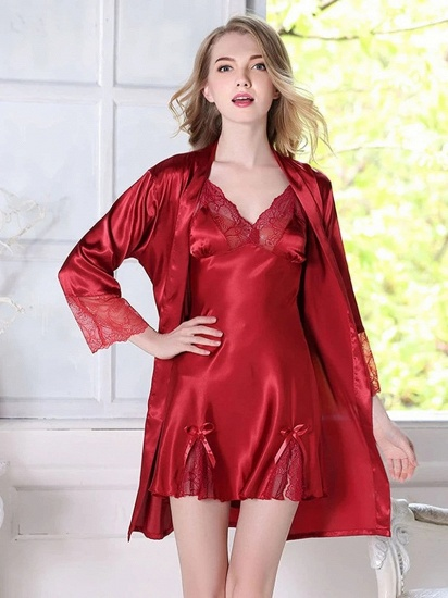 BMbridal Sexy Women Red Simulation Silk Lace Skirt Pajamas with Spaghetti Straps_3