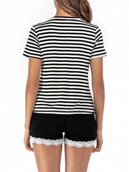 Two Pieces V Neck Lace Nightwear Modern Stripes Pajamas_2