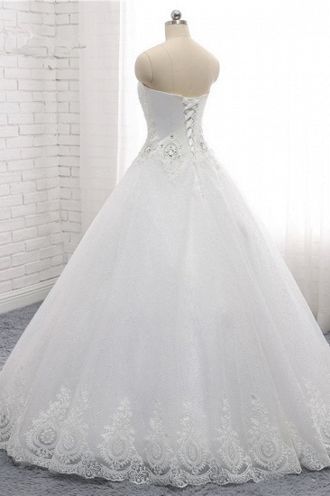 Affordable S-Line Sweetheart Tulle Rhinestones Wedding Dress Lace Appliques Sleeveless Bridal Gowns Online_4