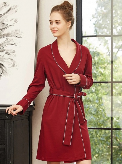 BMbridal Cotton Sexy V-Neck Long Sleeves Sleepwear Robe with Belt for Women_2