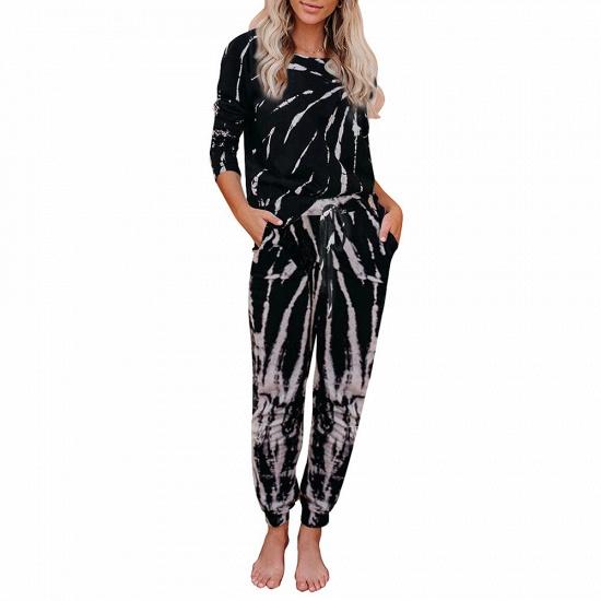 BMbridal Fashion Long Sleeve Homewear Two Pieces Tie-dye Round Neck Pajamas_5