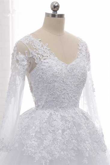 BMbridal Stylish Long Sleeves Tulle Lace Wedding Dress Ball Gown V-Neck Sequins Appliques Bridal Gowns On Sale_7