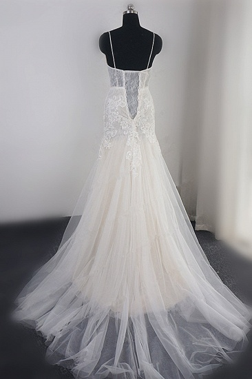 Sexy Deep-V-Neck Tulle Mermaid Wedding Dress Lace Appliques Spaghetti Straps Beadings Bridal Gowns Online_3