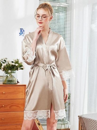 BMbridal Lovely Lady V-Neck Imitation Silk Lace Pajamas with Sleeves_4