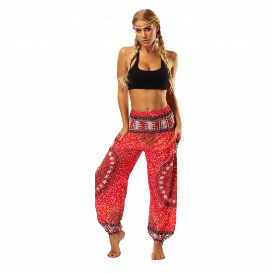 BMbridal Newest Flora Printed Designed Latern Pockets Women Yoga Pants Outdoor Indoor Gym Sports Exercises Women Lose Athletic Trousers_4