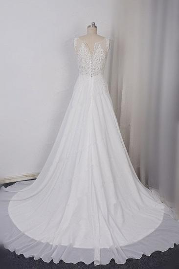 BMbridal Elegant Straps V-neck Chiffon White Wedding Dress Sleeveless Lace Appliques Ruffle Bridal Gowns On Sale_3