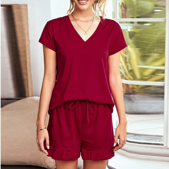 BMbridal Summer Homewear Two-Piece V Neck Comfortable Leisure Short Sleeved Pajamas_2
