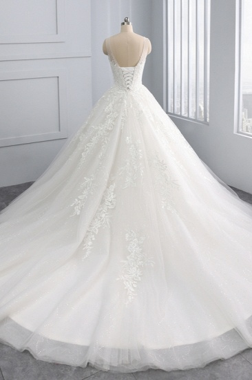 BMbridal Affordable Ball Gown Jewel Tulle Lace Wedding Dress Ruffles Sleeveless Appliques Bridal Gowns Online_3