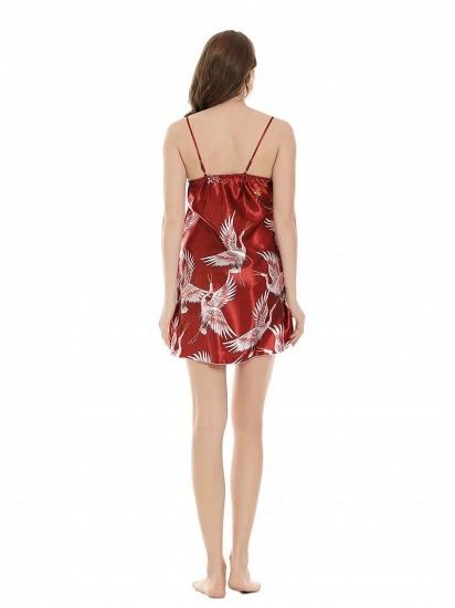 Burgundy Women Lace Chemise Mini Lingerie V Neck Nightwear Satin Sleepwear_3