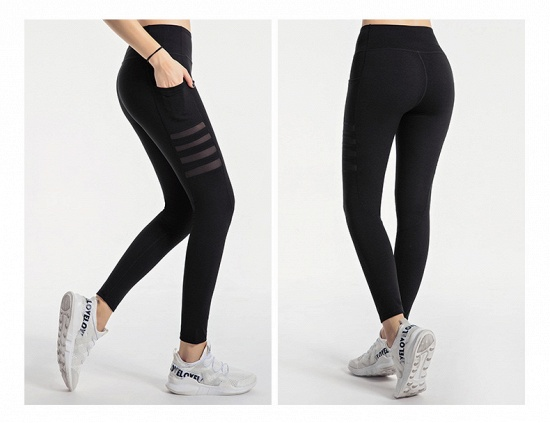 BMbridal Pocket High Waist Yoga Pants Sexy Lady Raising Hips Tight Running Fitness Double Side Brocade Pants High Elasticity_5