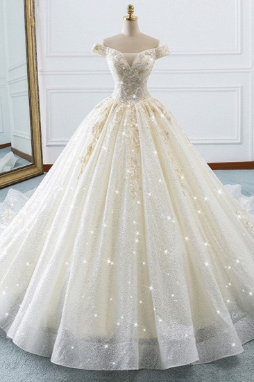Sparkly Sequined Off-the-Shoulder Wedding Dress Ball Gown Sweetheart Appliques Bridal Gowns Online