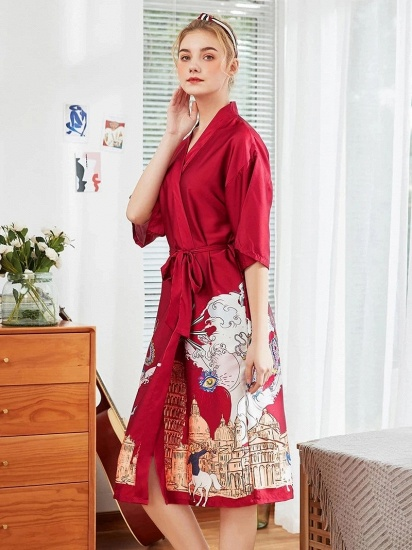 Womens Robe Knit Bathrobe Long Sleepwear Loungewear Lightweight Kimono Robes_4
