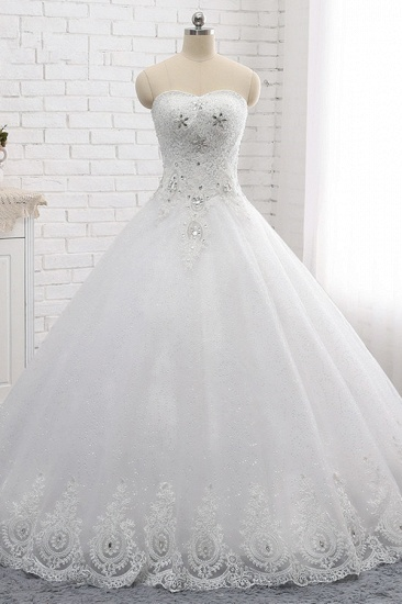 Affordable S-Line Sweetheart Tulle Rhinestones Wedding Dress Lace Appliques Sleeveless Bridal Gowns Online_1