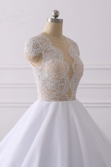 BMbridal Modern Ball Gown Jewel Tulle Ruffles Lace Wedding Dress Appliques Short-Sleeves Bridal Gowns On Sale_6