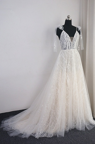 Gorgeous Spaghetti Straps Tulle Wedding Dress Beading V-Neck Sleeveless Bridal Gowns Online