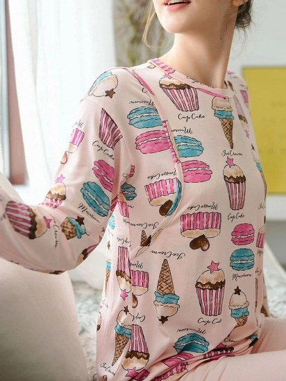 BMbridal Lovely Long Sleeve Home Wear Modal Two-piece Pajamas with Cartoon Printed_3